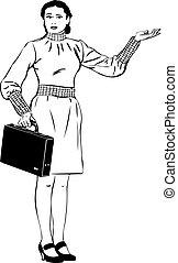 a sketch a girl with a brief-case specifies a hand