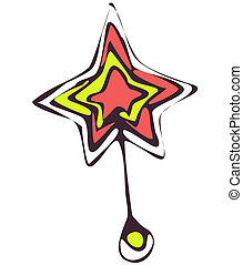 sketch five-pointed star is on the small pedestal