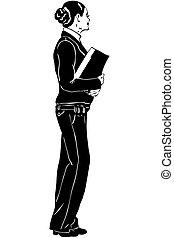 sketch girl teacher with a notebook in hands