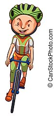 A sketch of a boy riding a bicycle - Illustration of a...