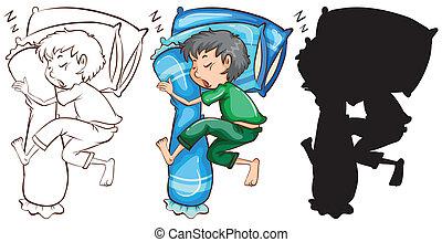 A sketch of a boy sleeping