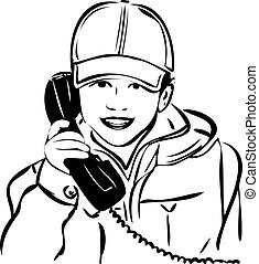 sketch of a boy wearing a cap with the handset