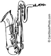 a brass musical instrument saxophone bass - a sketch of a...