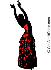 sketch of a girl in dance pose Flamenco - a sketch of a girl...