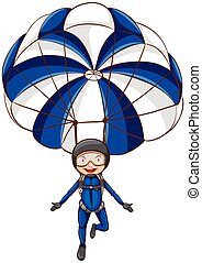 A sketch of a parachute with a boy
