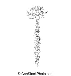 A sketch of beautiful lotuses in a graceful ornament on a...