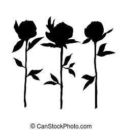 A sketch of black roses on a white background.