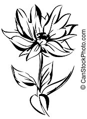 sketch of blossoming out flower on a stem
