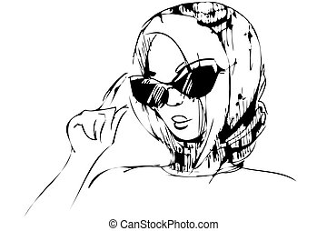 a sketch of girl in black glasses and in a shawl
