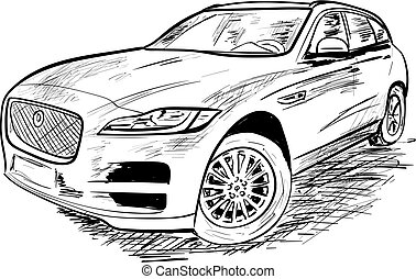 a sketch of new car on the white