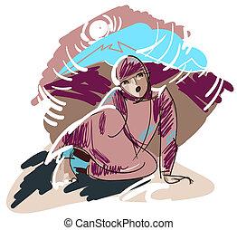 Afghan girl - A sketch of the Afghan girl - teenager in...