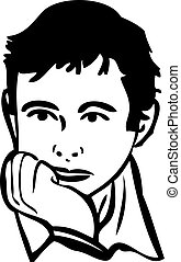 sketch of the boy is thinking - a sketch of the boy is...