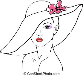 A sketch of the woman in a hat with flower