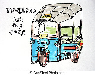 Thailand Tuk Tuk Taxi - A sketched and water coloured...