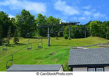 A ski lift in summer