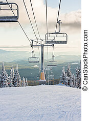 A Ski Resort Chairlift in Winter