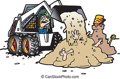 a skid steer operator dumping sand on an unsuspecting individual