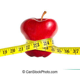 A skinny apple with a measuring tape, isolated on white...