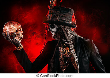 a skull and baron samedi - A man with a skull makeup dressed...