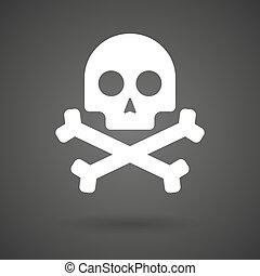a skull white icon on a dark background
