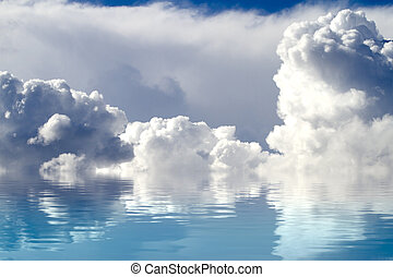 A sky of clouds reflected in a calm sea.