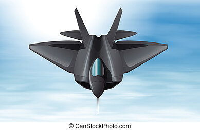 A sky with a fighterjet - Illustration of a sky with a...