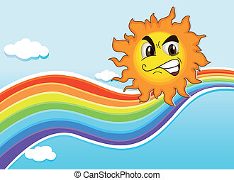 A sky with a rainbow and an angry sun