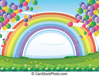 A sky with a rainbow and colorful floating balloons -...