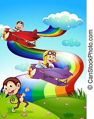 Illustration of a sky with a rainbow and planes with monkeys