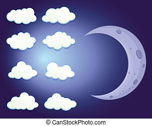 A sky with clouds and a moon