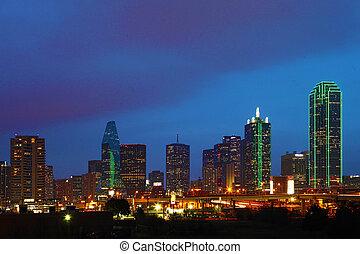 a, skyline dallas, em, crepúsculo