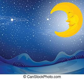 A sleeping moon