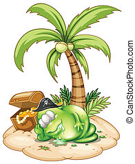 A sleeping pirate monster under the coconut tree -...