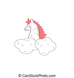 A sleeping unicorn on a white background in the clouds.