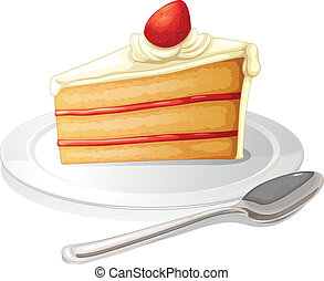 A slice of cake with white icing in a plate - Illustration...