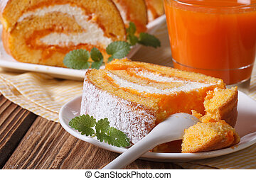 A slice of delicious carrot rolls on a plate, horizontal