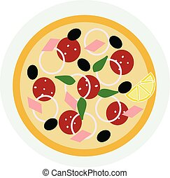 A slice of Italian pie called pizza with various toppings vector color drawing or illustration