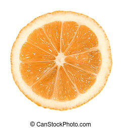 A slice of lemon on a white background