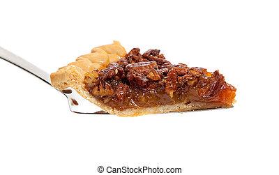 A slice of pecan pie on white