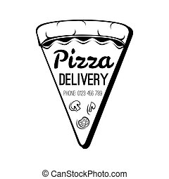 A Slice Of Pizza. Food Delivery Badge. Vector Illustration. Isolated On White
