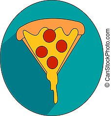 A slice of pizza, illustration, vector on white background.