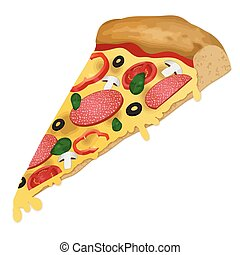 A slice of pizza on white background