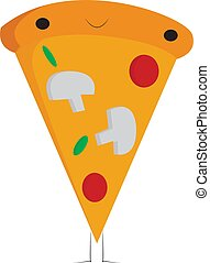 A slice of pizza with toppings vector or color illustration