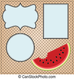 A slice of watermelon, with frames for text