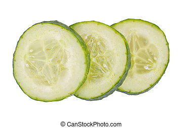 A slices of cucumber over white background