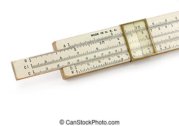 A slide rule with white background, for mathematical ...