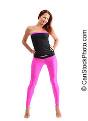 A slim woman in sport clothes for fitness