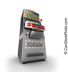A slot machine, gamble machine. 3D illustration