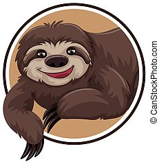 A sloth sticker template illustration