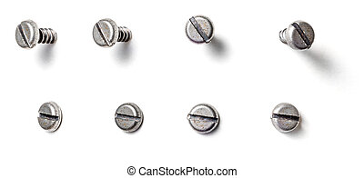 A slotted screw from different perspectives on a white background